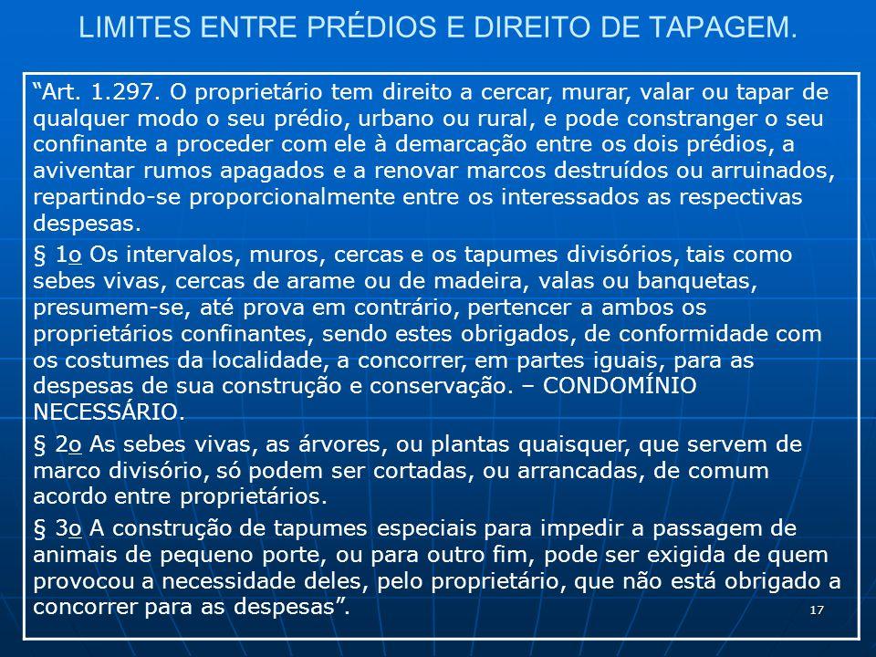 17 LIMITES ENTRE PRÉDIOS E DIREITO DE TAPAGEM. Art.