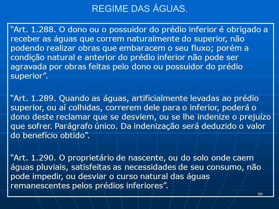 20 REGIME DAS ÁGUAS. Art. 1.288.