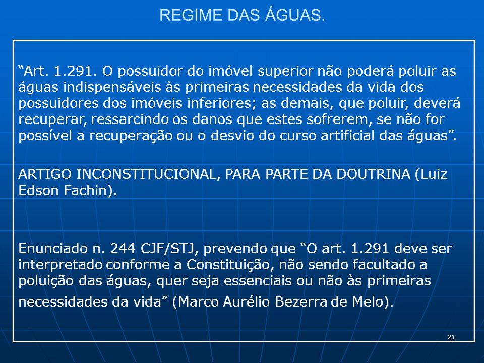 21 REGIME DAS ÁGUAS. Art. 1.291.