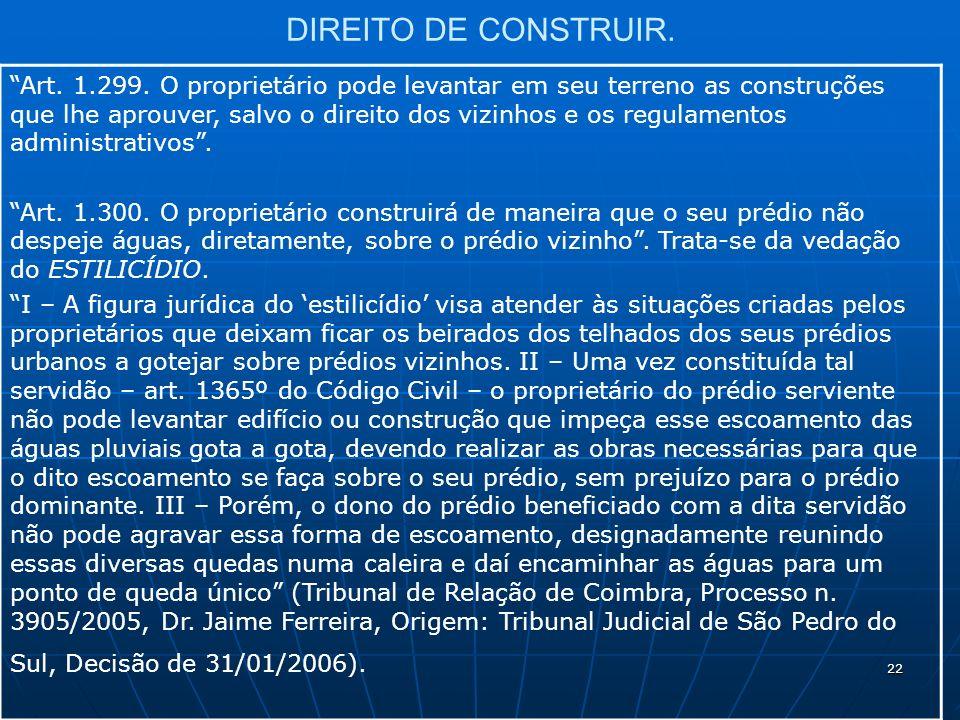 22 DIREITO DE CONSTRUIR. Art. 1.299.