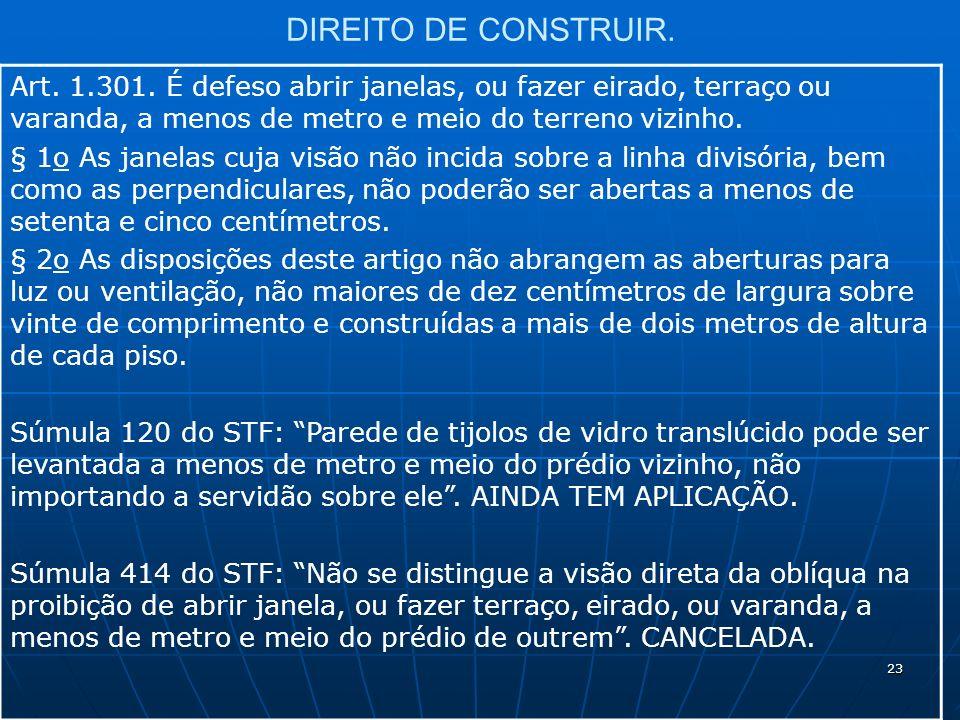 23 DIREITO DE CONSTRUIR. Art. 1.301.