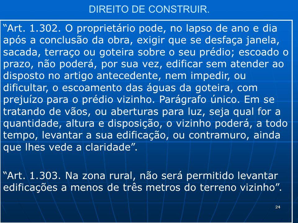 24 DIREITO DE CONSTRUIR. Art. 1.302.