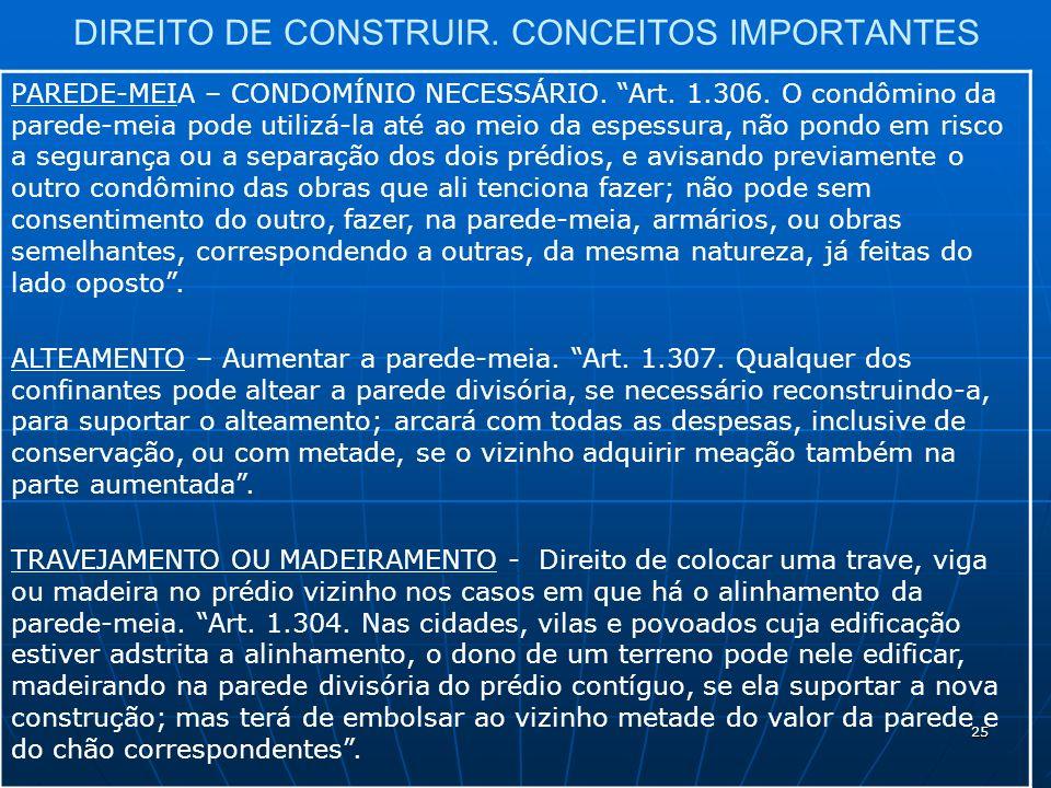 25 DIREITO DE CONSTRUIR. CONCEITOS IMPORTANTES PAREDE-MEIA – CONDOMÍNIO NECESSÁRIO.