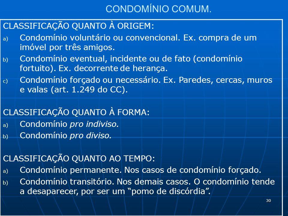 30 CONDOMÍNIO COMUM. CLASSIFICAÇÃO QUANTO À ORIGEM: a) Condomínio voluntário ou convencional.