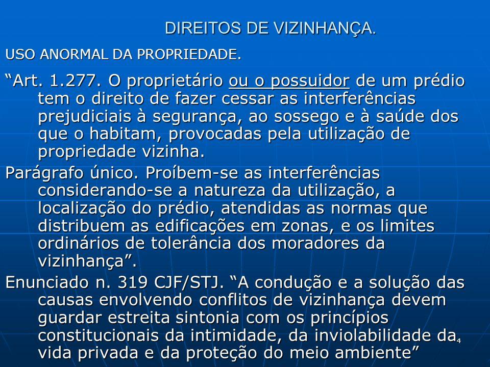 4 DIREITOS DE VIZINHANÇA. USO ANORMAL DA PROPRIEDADE.