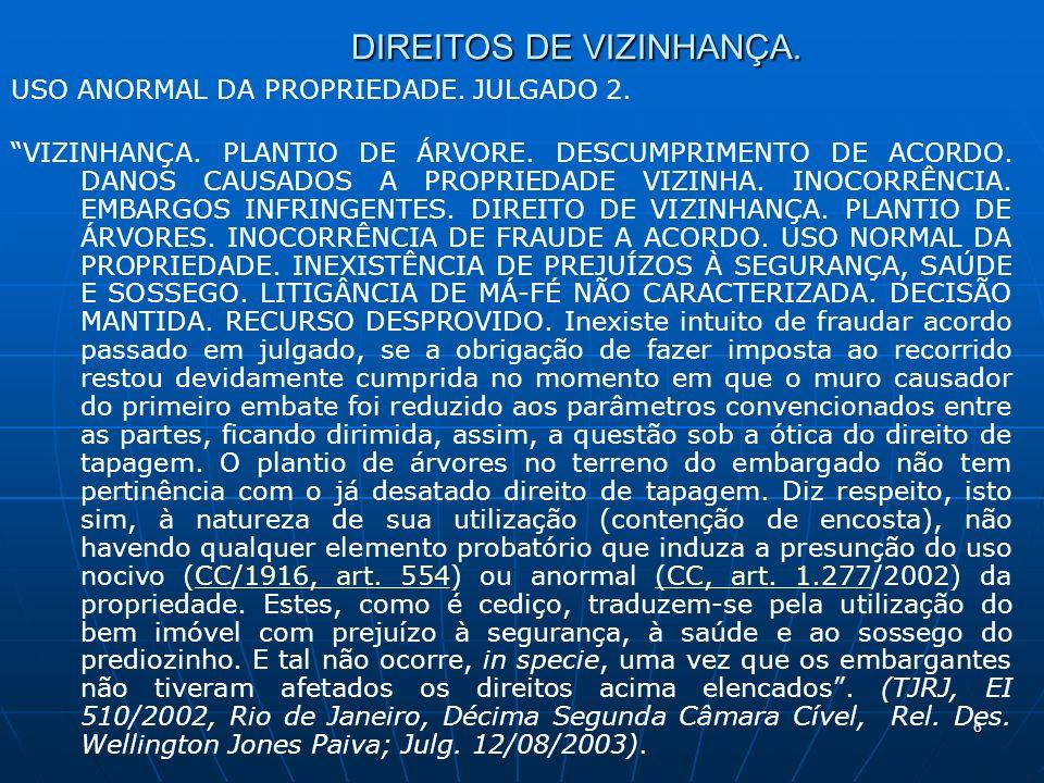 6 DIREITOS DE VIZINHANÇA. USO ANORMAL DA PROPRIEDADE.