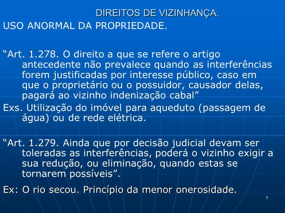 7 DIREITOS DE VIZINHANÇA. USO ANORMAL DA PROPRIEDADE.