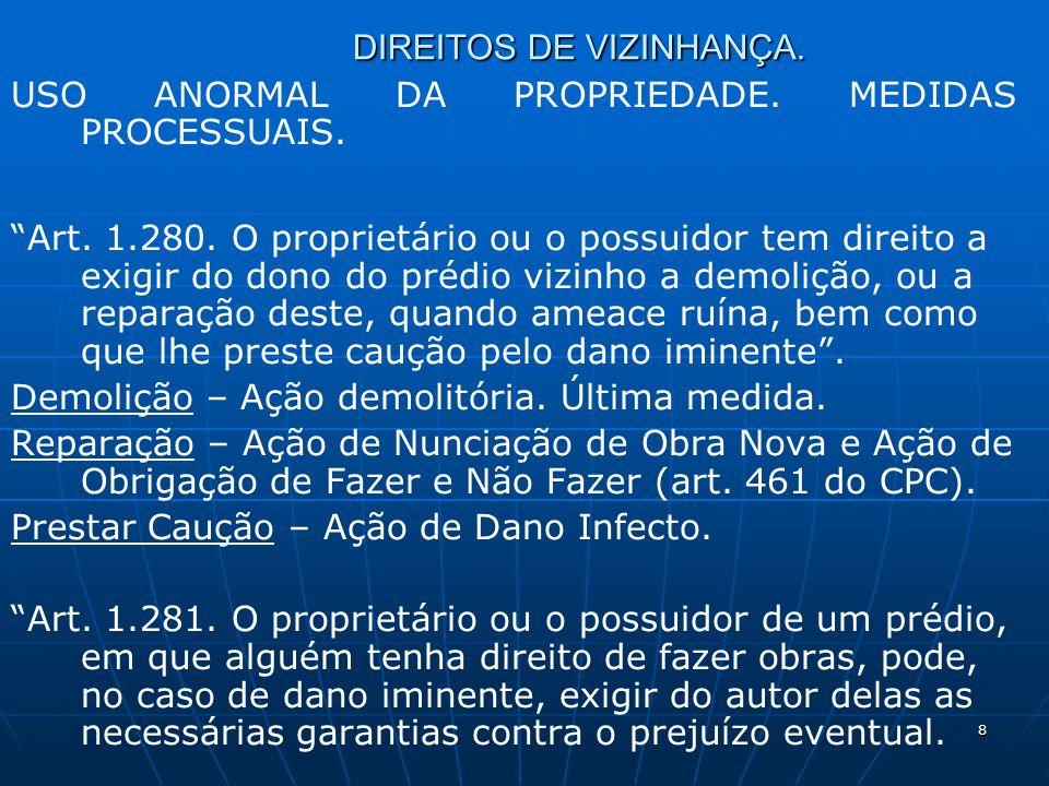8 DIREITOS DE VIZINHANÇA. USO ANORMAL DA PROPRIEDADE.