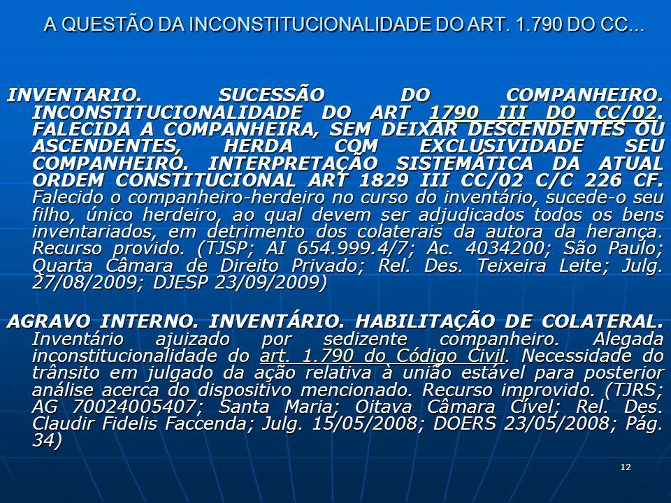 12 A QUESTÃO DA INCONSTITUCIONALIDADE DO ART. 1.790 DO CC...