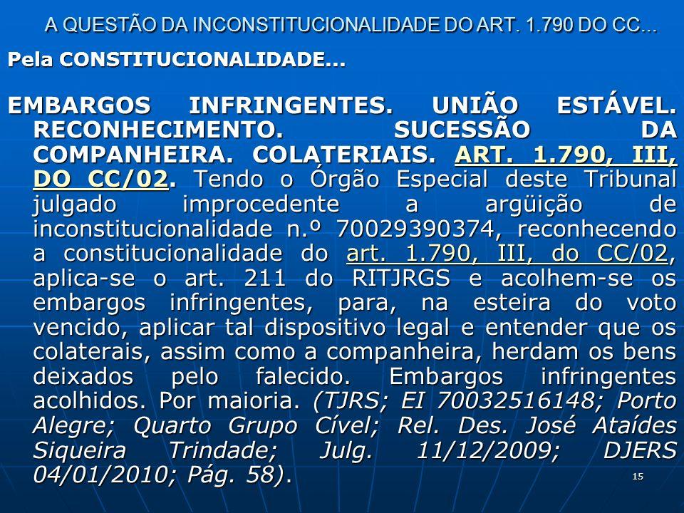 15 A QUESTÃO DA INCONSTITUCIONALIDADE DO ART. 1.790 DO CC...