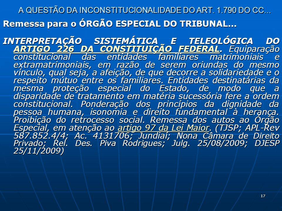 17 A QUESTÃO DA INCONSTITUCIONALIDADE DO ART. 1.790 DO CC...