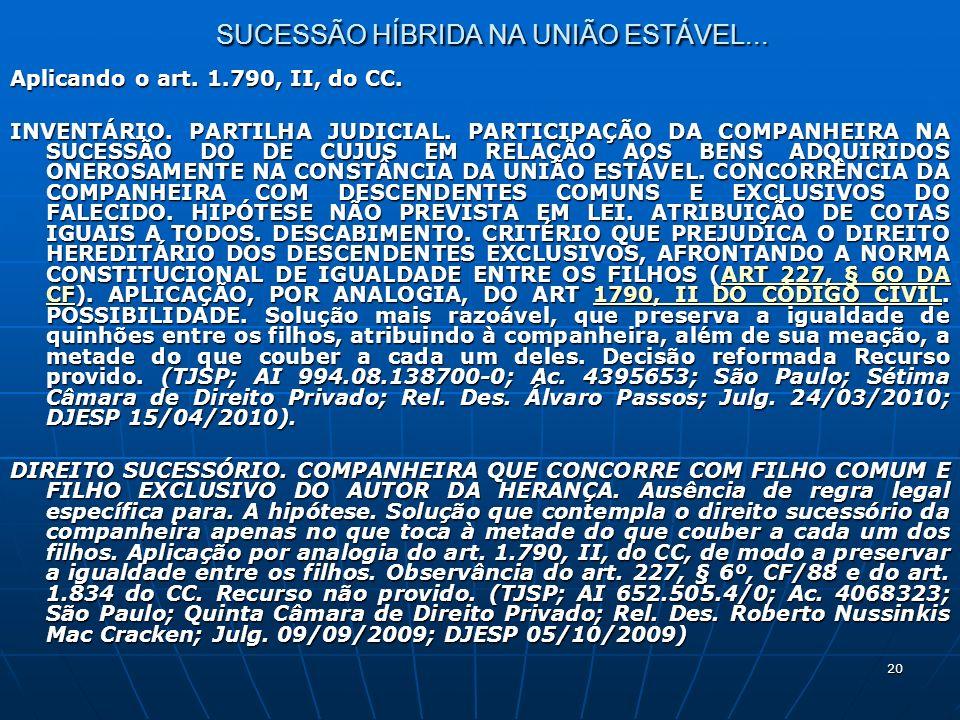 20 SUCESSÃO HÍBRIDA NA UNIÃO ESTÁVEL... Aplicando o art.