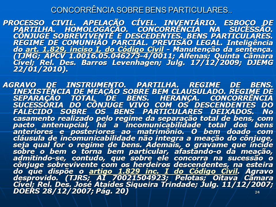 24 CONCORRÊNCIA SOBRE BENS PARTICULARES.. PROCESSO CIVIL.