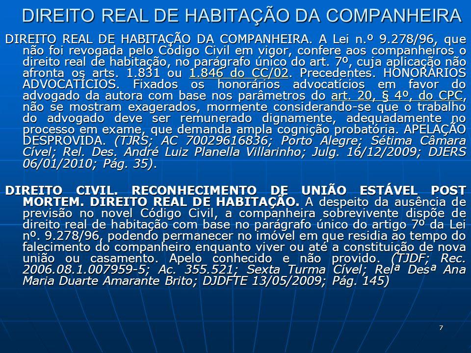 7 DIREITO REAL DE HABITAÇÃO DA COMPANHEIRA DIREITO REAL DE HABITAÇÃO DA COMPANHEIRA.