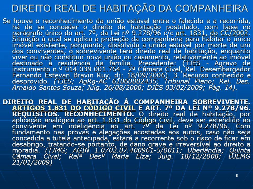 8 DIREITO REAL DE HABITAÇÃO DA COMPANHEIRA Se houve o reconhecimento da união estável entre o falecido e a recorrida, há de se conceder o direito de habitação postulado, com base no parágrafo único do art.