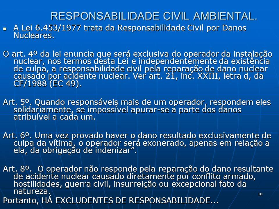 10 RESPONSABILIDADE CIVIL AMBIENTAL.