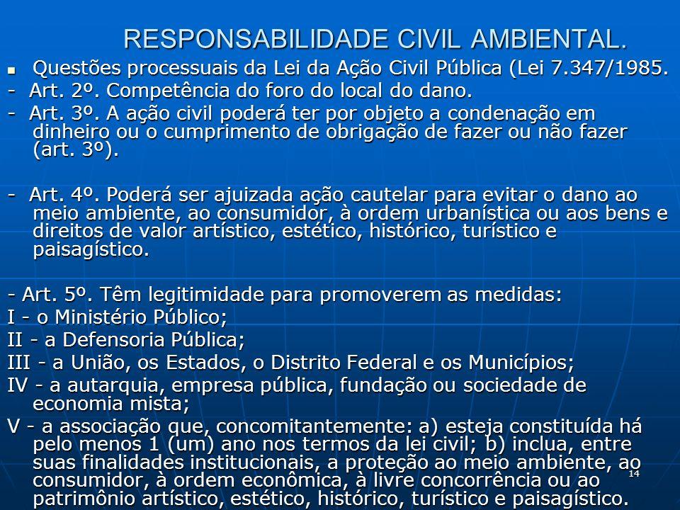 14 RESPONSABILIDADE CIVIL AMBIENTAL.