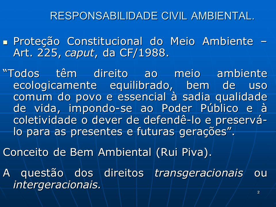 2 RESPONSABILIDADE CIVIL AMBIENTAL. Proteção Constitucional do Meio Ambiente – Art.