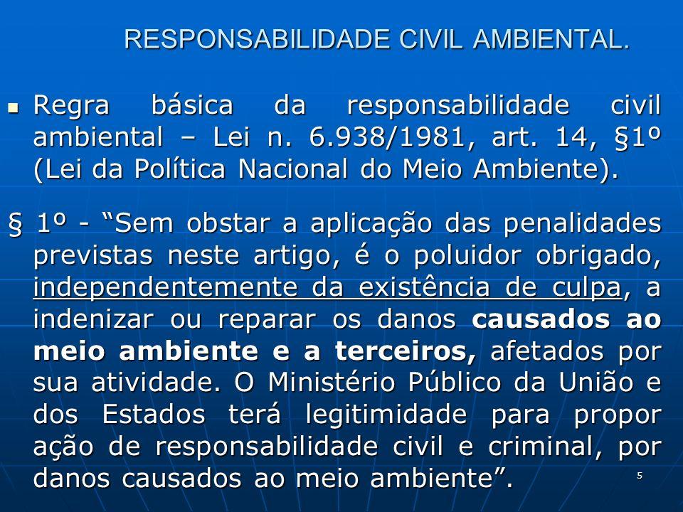 5 RESPONSABILIDADE CIVIL AMBIENTAL. Regra básica da responsabilidade civil ambiental – Lei n.