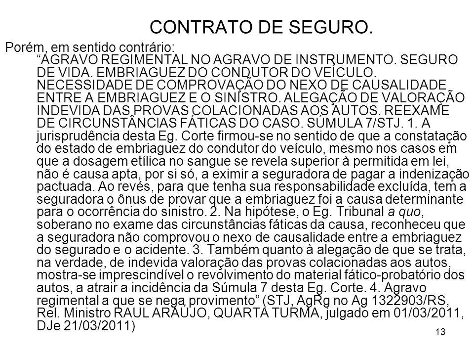 13 CONTRATO DE SEGURO. Porém, em sentido contrário: AGRAVO REGIMENTAL NO AGRAVO DE INSTRUMENTO.
