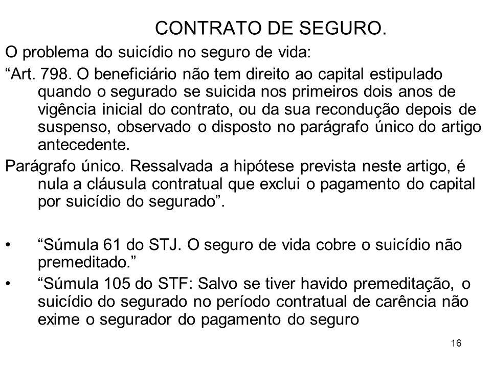16 CONTRATO DE SEGURO. O problema do suicídio no seguro de vida: Art.