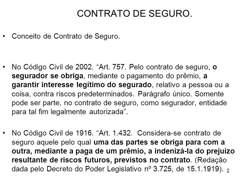 2 CONTRATO DE SEGURO. Conceito de Contrato de Seguro.