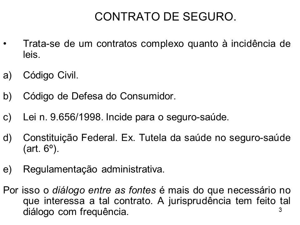 3 CONTRATO DE SEGURO. Trata-se de um contratos complexo quanto à incidência de leis.