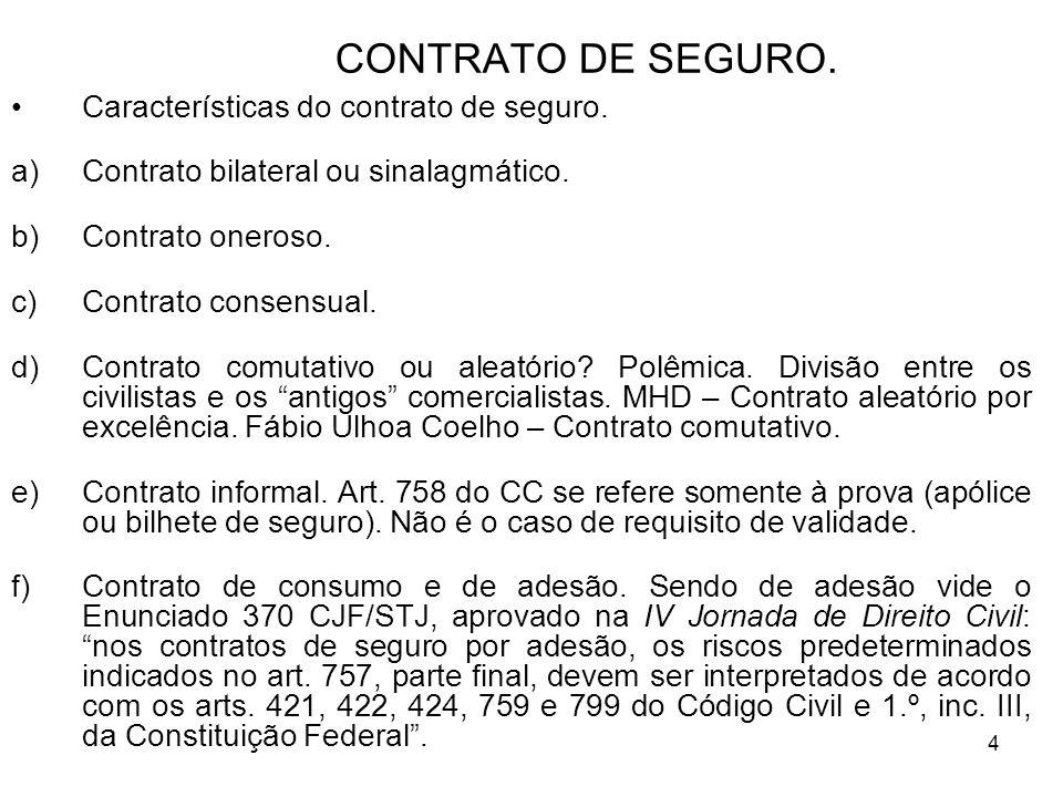 4 CONTRATO DE SEGURO. Características do contrato de seguro.