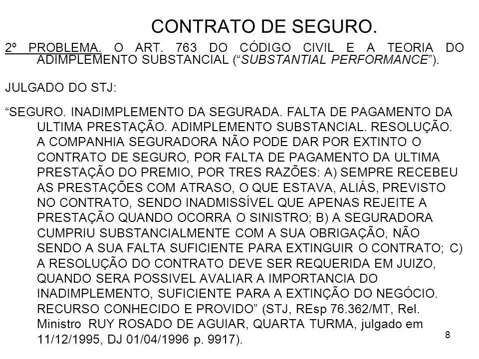 8 CONTRATO DE SEGURO. 2º PROBLEMA. O ART.