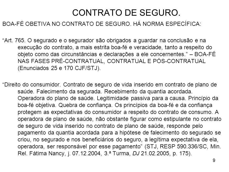 9 CONTRATO DE SEGURO. BOA-FÉ OBETIVA NO CONTRATO DE SEGURO.