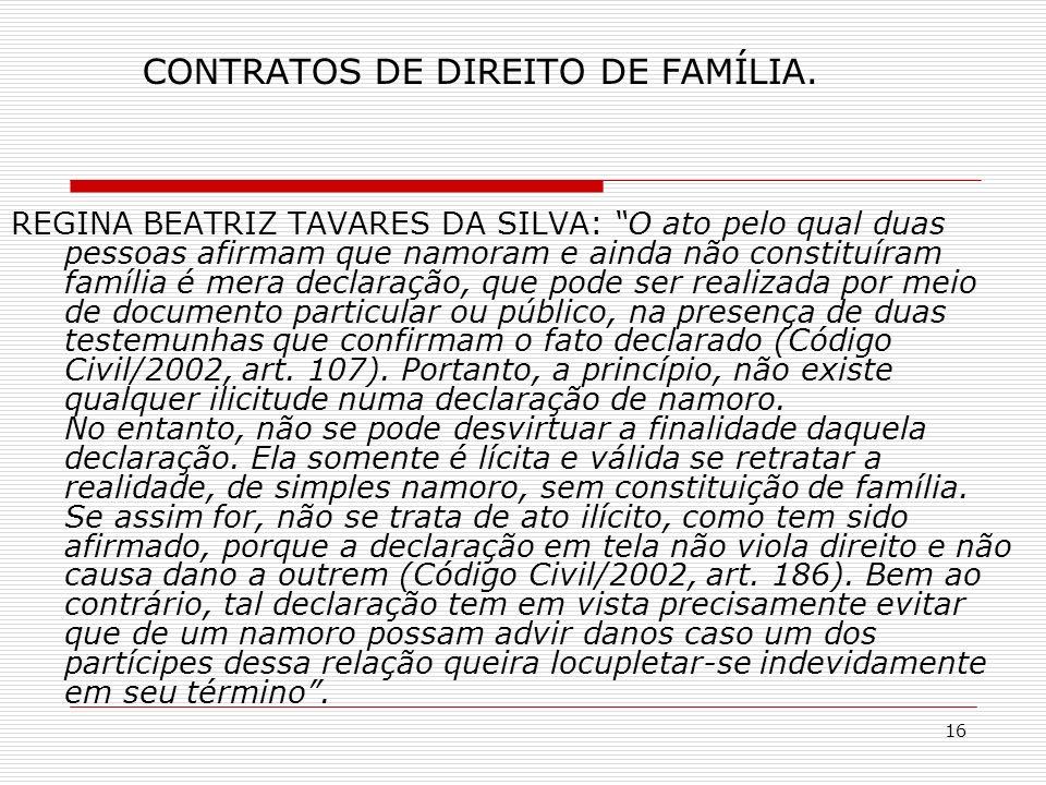 16 CONTRATOS DE DIREITO DE FAMÍLIA.