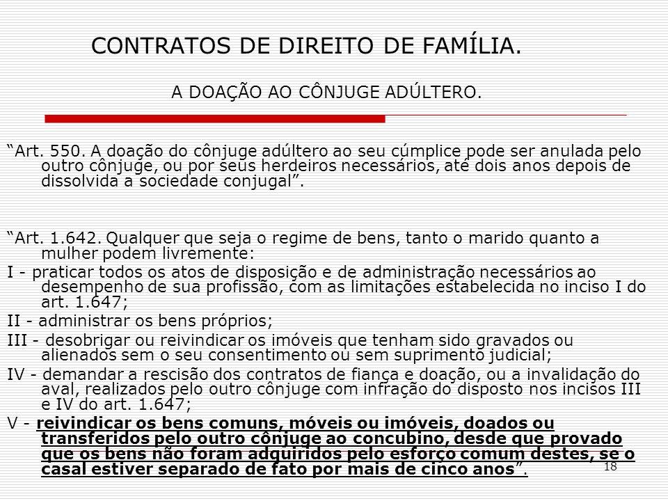 18 CONTRATOS DE DIREITO DE FAMÍLIA. A DOAÇÃO AO CÔNJUGE ADÚLTERO.