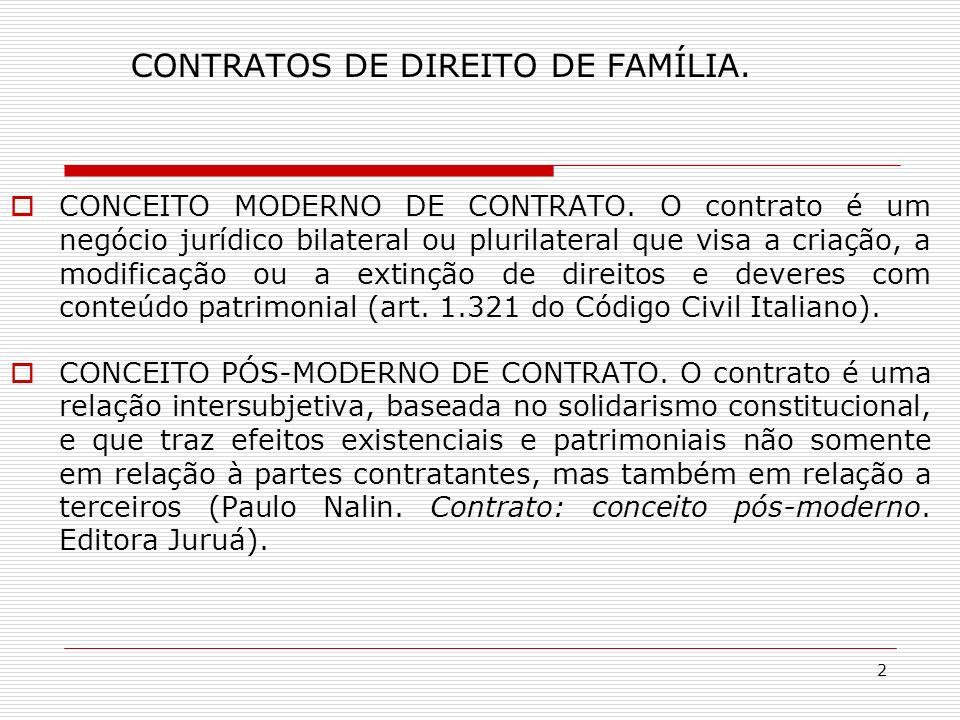 2 CONTRATOS DE DIREITO DE FAMÍLIA. CONCEITO MODERNO DE CONTRATO.