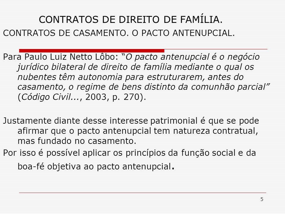 5 CONTRATOS DE DIREITO DE FAMÍLIA. CONTRATOS DE CASAMENTO.