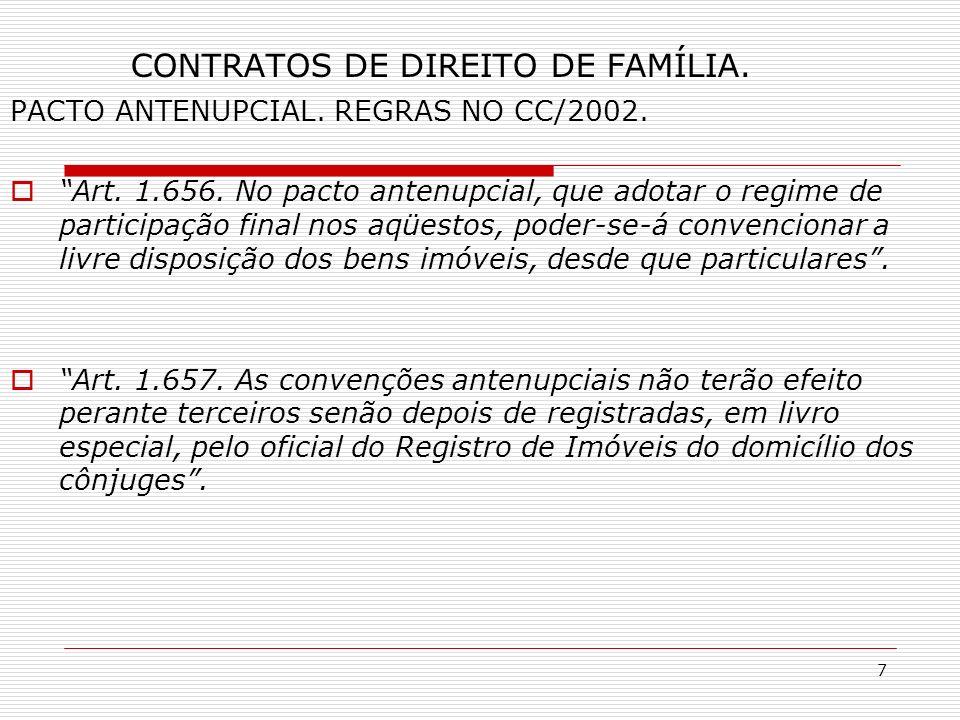 7 CONTRATOS DE DIREITO DE FAMÍLIA. PACTO ANTENUPCIAL.