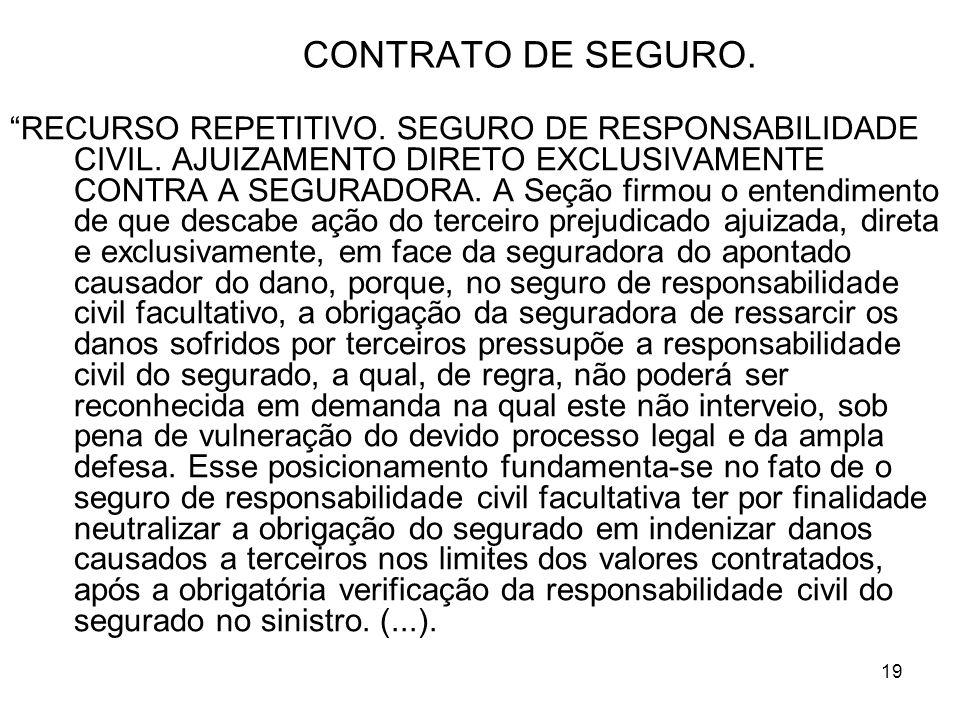 19 CONTRATO DE SEGURO.RECURSO REPETITIVO. SEGURO DE RESPONSABILIDADE CIVIL.