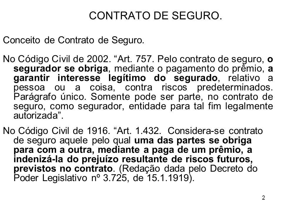 2 CONTRATO DE SEGURO.Conceito de Contrato de Seguro.