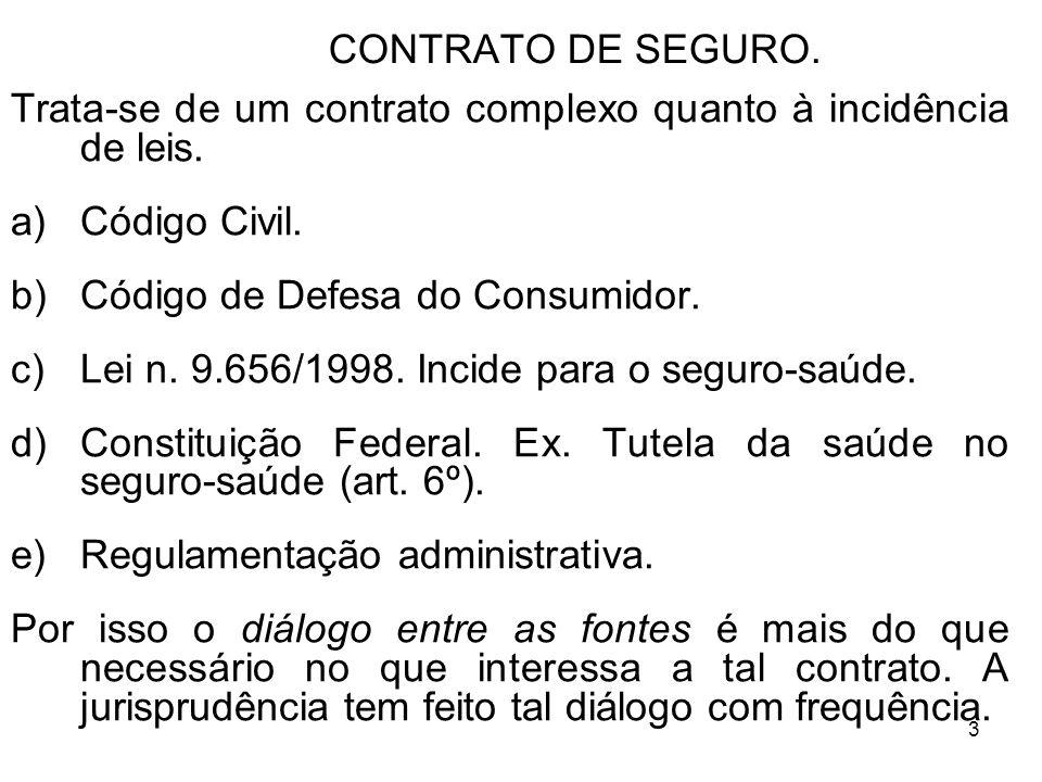 3 CONTRATO DE SEGURO.Trata-se de um contrato complexo quanto à incidência de leis.
