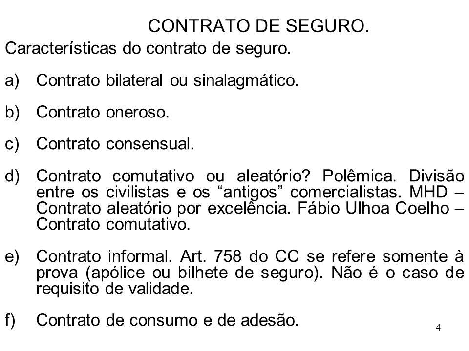 4 CONTRATO DE SEGURO.Características do contrato de seguro.