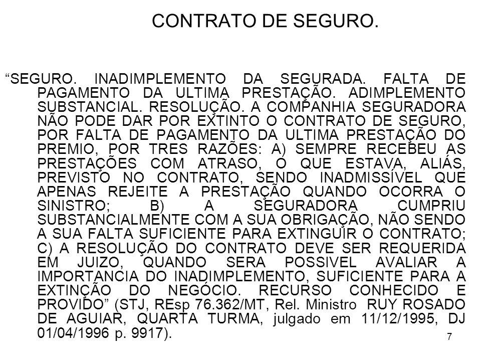 7 CONTRATO DE SEGURO.SEGURO. INADIMPLEMENTO DA SEGURADA.
