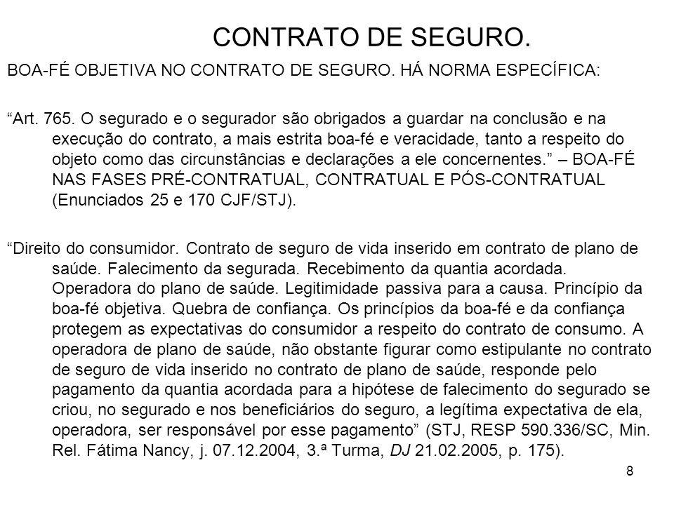 8 CONTRATO DE SEGURO.BOA-FÉ OBJETIVA NO CONTRATO DE SEGURO.