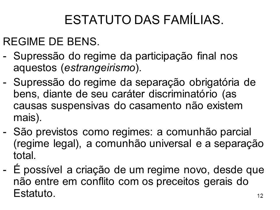 12 ESTATUTO DAS FAMÍLIAS. REGIME DE BENS.
