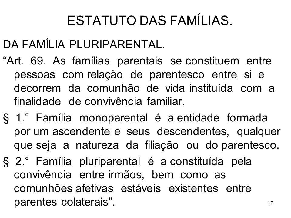 18 ESTATUTO DAS FAMÍLIAS. DA FAMÍLIA PLURIPARENTAL. Art. 69. As famílias parentais se constituem entre pessoas com relação de parentesco entre si e de