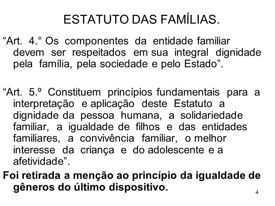 4 ESTATUTO DAS FAMÍLIAS. Art. 4.° Os componentes da entidade familiar devem ser respeitados em sua integral dignidade pela família, pela sociedade e p
