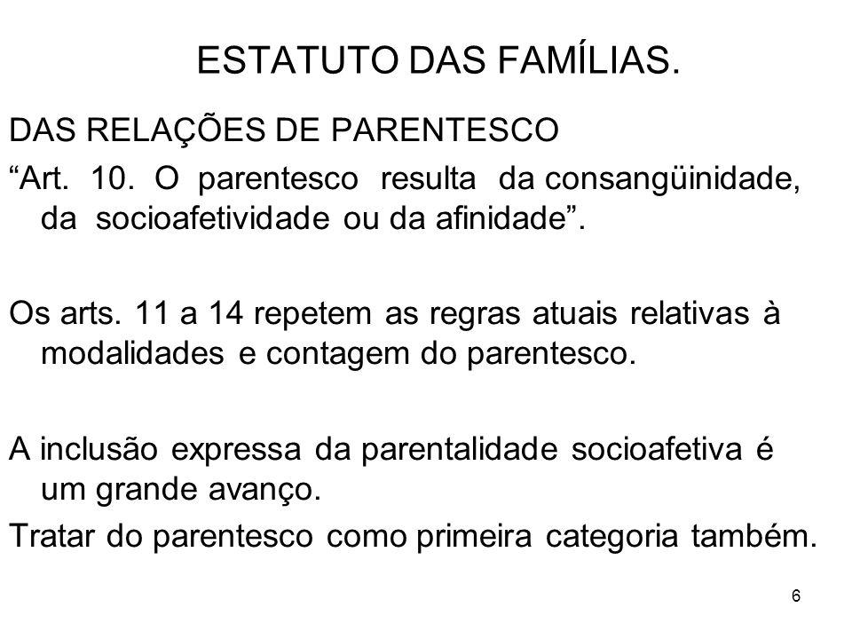 6 ESTATUTO DAS FAMÍLIAS. DAS RELAÇÕES DE PARENTESCO Art. 10. O parentesco resulta da consangüinidade, da socioafetividade ou da afinidade. Os arts. 11