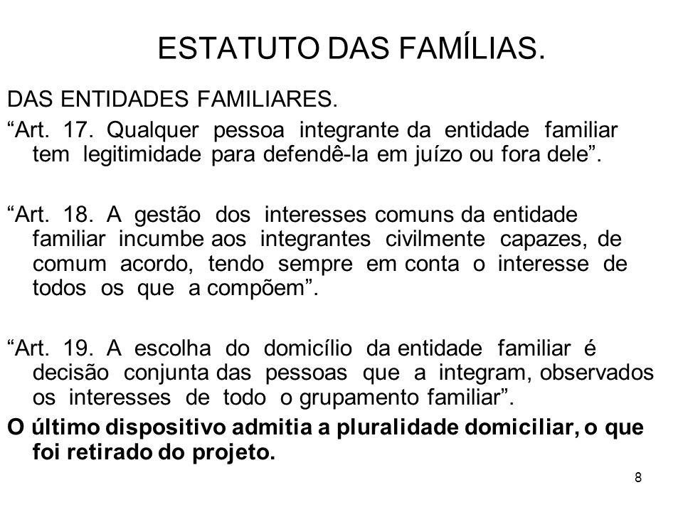 8 ESTATUTO DAS FAMÍLIAS. DAS ENTIDADES FAMILIARES. Art. 17. Qualquer pessoa integrante da entidade familiar tem legitimidade para defendê-la em juízo