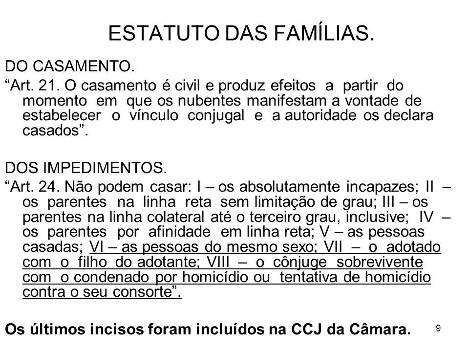 9 ESTATUTO DAS FAMÍLIAS. DO CASAMENTO. Art. 21.