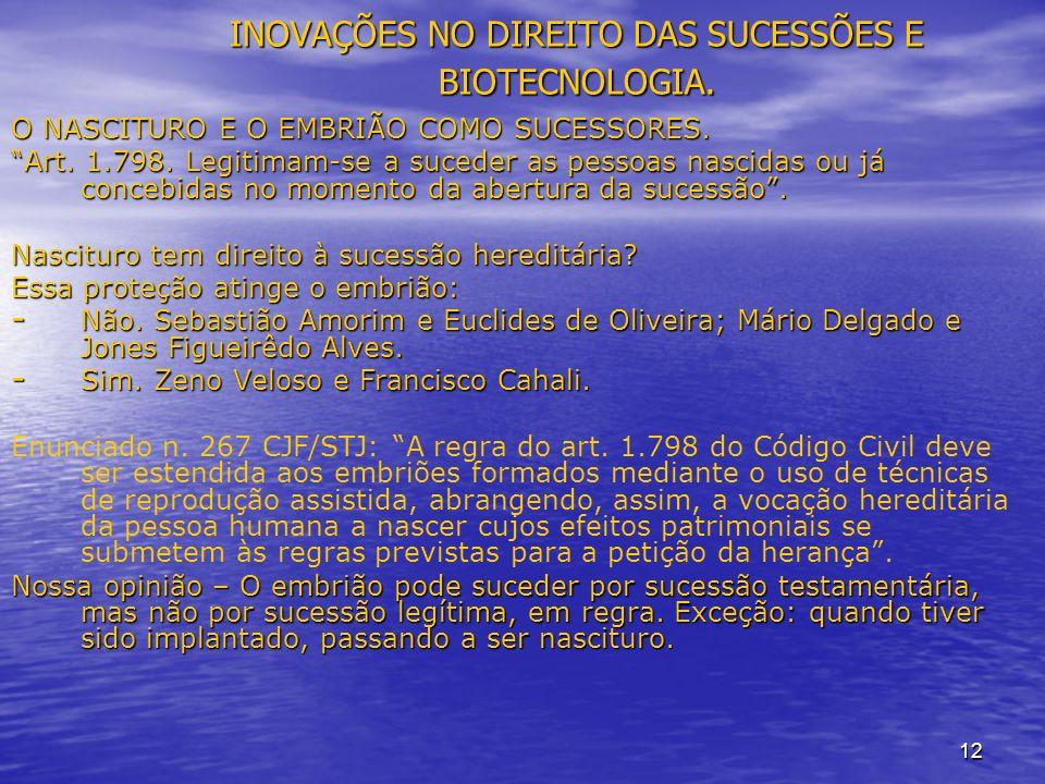 12 INOVAÇÕES NO DIREITO DAS SUCESSÕES E BIOTECNOLOGIA.