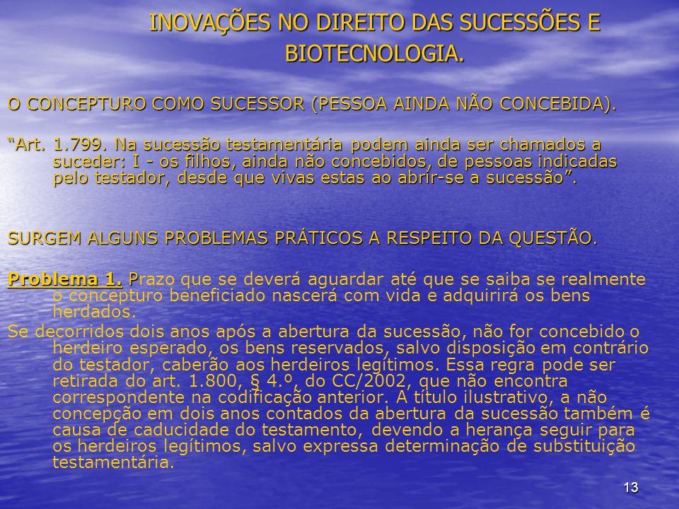 13 INOVAÇÕES NO DIREITO DAS SUCESSÕES E BIOTECNOLOGIA.