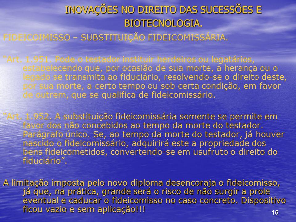 15 INOVAÇÕES NO DIREITO DAS SUCESSÕES E BIOTECNOLOGIA.
